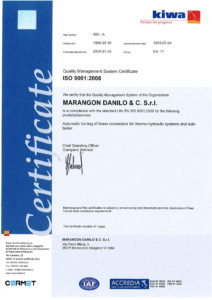 Certificato ISO 9001 anno 2015 Inglese